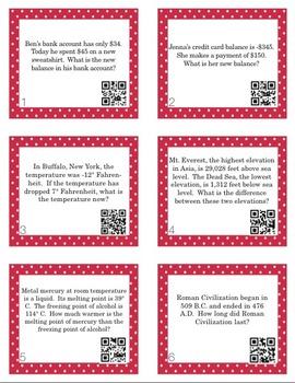 Integer Problem Solving Task Cards with QR Codes (Optional!)