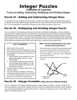 Integer Puzzles: 3 pack for Adding, Subtracting, Multiplying & Dividing Integers