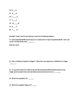 Integer Quiz