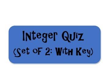 Integer Quiz: Set of 2 with Key