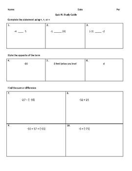 Integer Quiz Study Guide