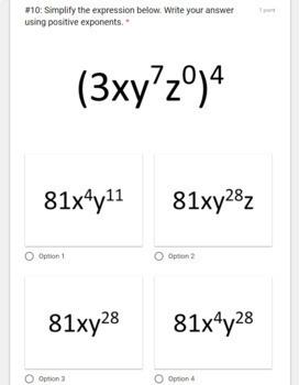 Integer & Rational Exponents- Digital GOOGLE FORMS Quiz