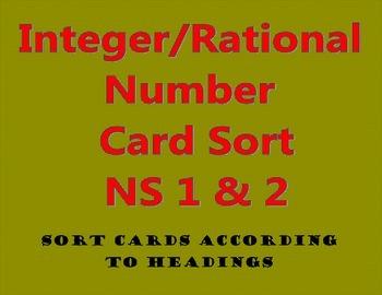 Integer Rational Number Card Sort NS 1 & NS 2