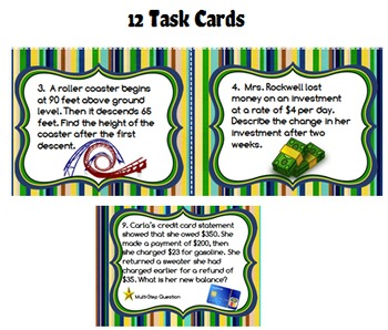 Integer Real-World Word Problem Task Cards