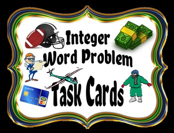 Integer Real-World Word Problem Task Cards