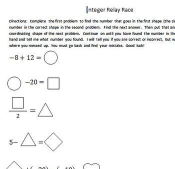Integer Relay Race