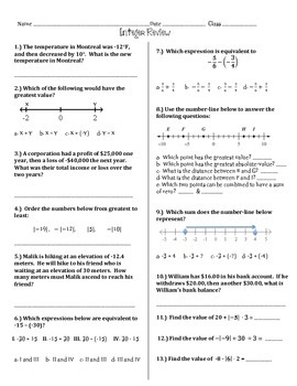 Integer Review 6th And 7th Grade Math By Math Maker Tpt