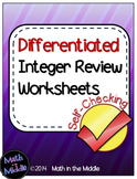 Integer Review (All Operations) Self-Checking Worksheets - Differentiated