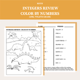 Integer Review ( +, -, ×, ÷ ) Color By Number (6th grade, 7th grade, 8th grade)