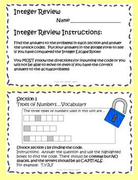 Integer Review Escape Room using Google Forms