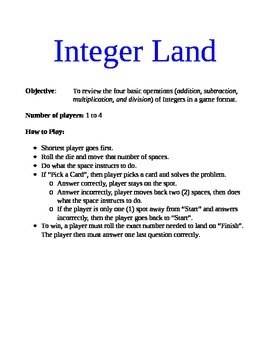 Integer Review Game