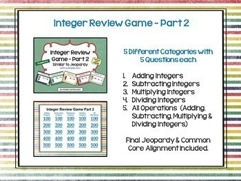 Integer Review Game BUNDLE (2 games similar to Jeopardy)
