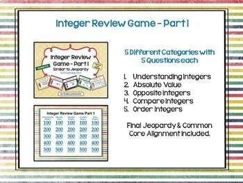 Integer Game BUNDLE (2 games similar to Jeopardy)