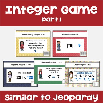 Integer Review Game Part 1 - Similar to Jeopardy