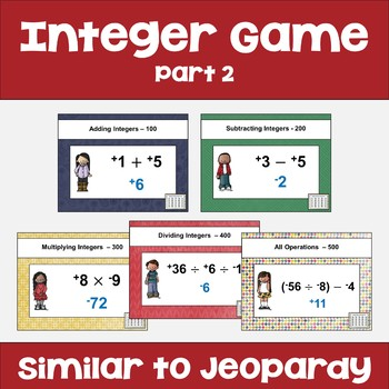 Integer Review Game Part 2 - Similar to Jeopardy