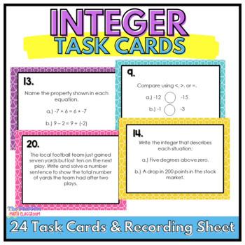 Integer Review Task Cards Grades 6, 7, 8