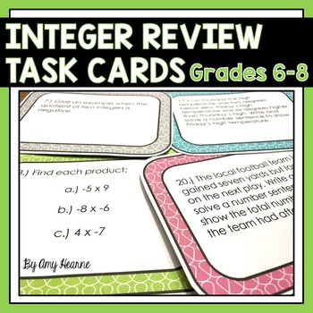 Integer Review Task Cards (Common Core Aligned)