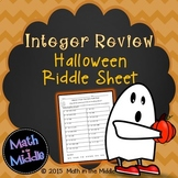 Integer Review (all operations) Halloween Riddle Sheet