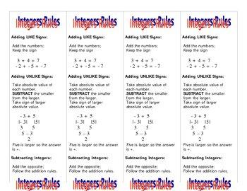 Integer Rule Bookmarks
