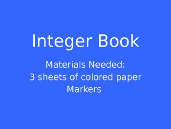 Integer Rule Foldable Book Powerpoint