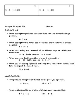 Integer Rule Study Guide and Two Sets of Practice Quizzes