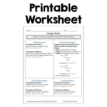 Integer Rules Worksheet