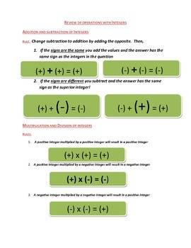 Integer Rules Hand Out