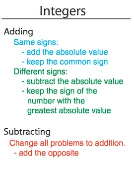Integers Adding and Subtracting Rules Math Tutorial for Kids ...