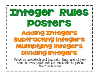 Integer Rules Posters (Adding, Subtracting, Dividing, Mult
