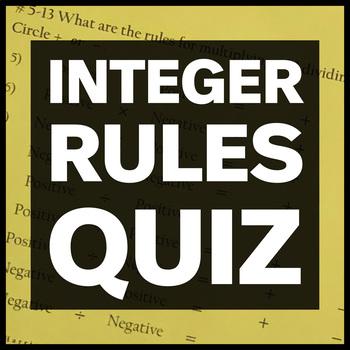 Integer Rules Quiz