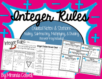 Integer Rules Stations (Add/Subtract/Multiply/Divide/Word Problems)