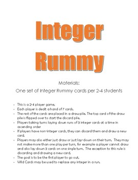 Integer Rummy Card Game