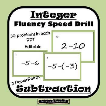Editable Integers Subtraction Fluency - 2 PowerPoints