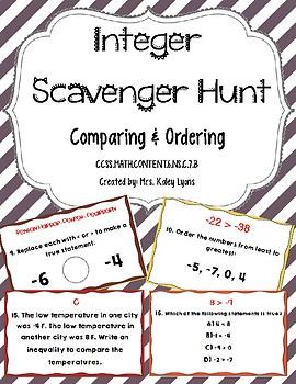 Integer Scavenger Hunt: Comparing & Ordering Integers