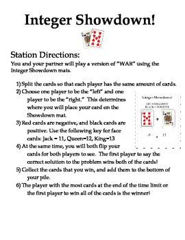 Integer Showdown - Practice Activity with Playing Cards!