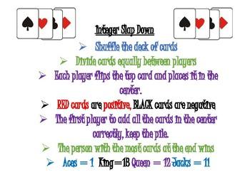 Integer Slap down (card game)