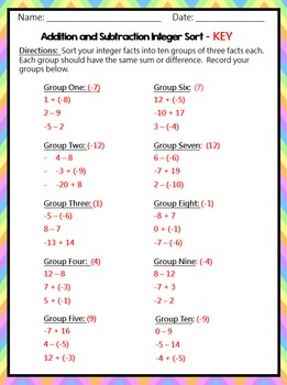Integer Sort: Addition and Subtraction