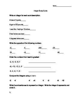 Integer Study Guide