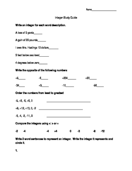 Integer Study Guide