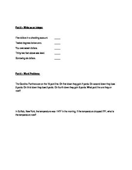 Integer Study Guide & Quiz