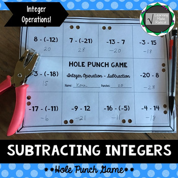 Integer (Subtracting) Operation Hole Punch Game 7.NS.A.2