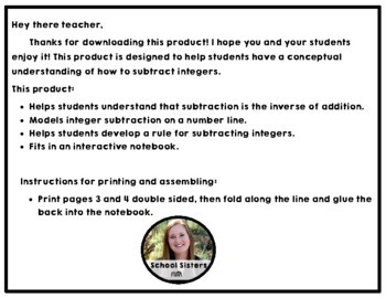 Integer Subtraction Notes for Interactive Notebooks