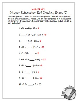 Integer Subtraction Self-Checking Worksheets - Differentiated