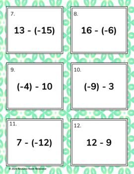 Integer Subtraction Task Cards