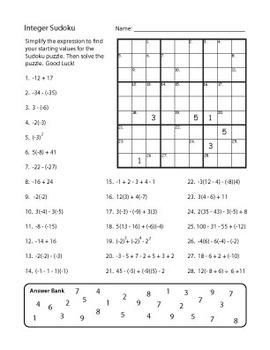 Integer Sudoku - Integers Review Sheet with Fun Little Twist