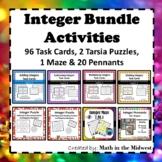 Integer Bundle-Positive & Negative Numbers {Task Cards,Puzzles,Pennants} 7.NS.1
