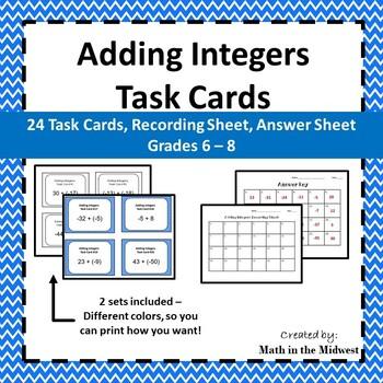 Integer Task Card Bundle {Addition,Subtraction,Multiplication,Division} 7.NS.1