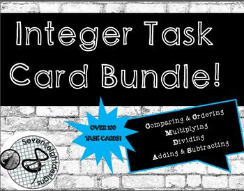 Integer Task Card Bundle! Compare&Order, Add&Subtract,Multiply and Divide