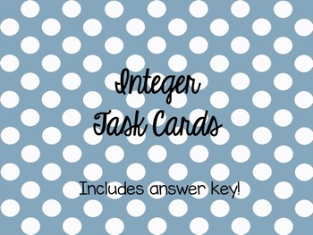 Integer Task Cards
