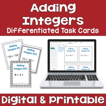 Adding Integers Task Cards (Differentiated with 3 Levels)